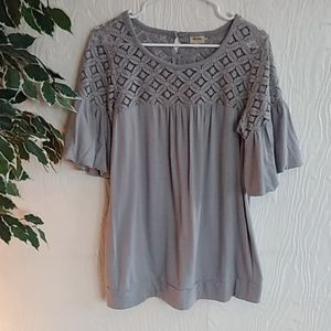 Ella Moss gray ruffle sleeve lace top shirt